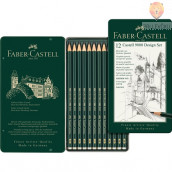 Set 12 svinčnikov različnih trdot Faber-Castell 9000 Design Set