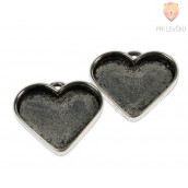Medaljon srce 30 x 23 mm, 2 kos