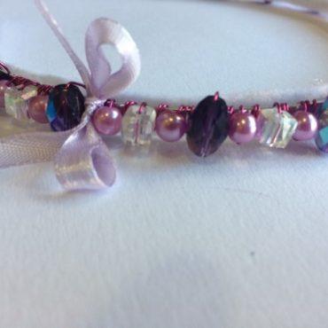 Obroč za lase s steklenimi perlami