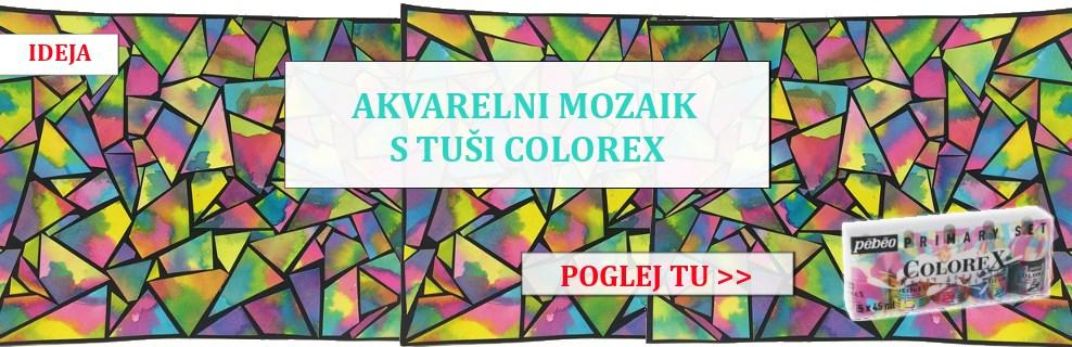 Akvarelni mozaik z akvarelnimi tuši Colorex Pebeo