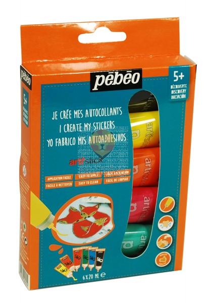 Set lepljivih barv za steklo Arti'stick 6x20ml