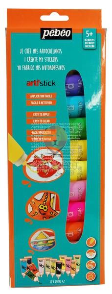 Set lepljivih barv za steklo Arti'stick 12 x 20 ml