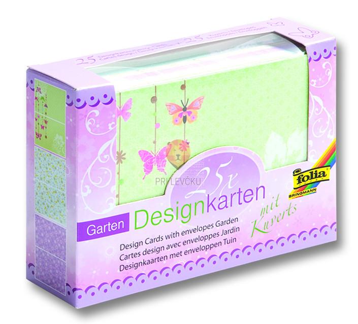 Set voščilnic s kuvertami motiv Vrt 25 kosov