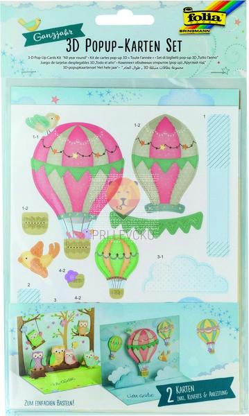 Set 2 Pop-out voščilnic Sovice in baloni