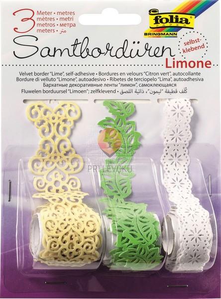 Žametne samolepilne bordure Limone 3x1m