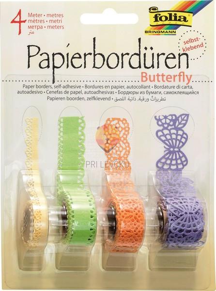 Papirnate samolepilne bordure Butterfly različne barve 4x1 m