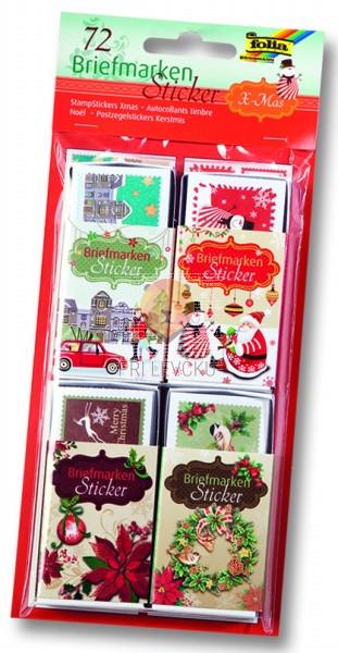 Nalepke z motivi božičnih poštnih znamk - 72 kos
