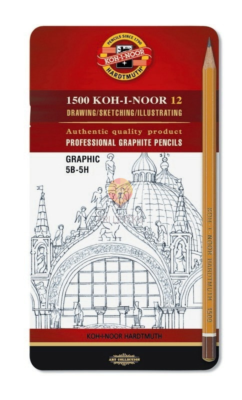 Set svinčnikov GRAPHIC za risanje in senčenje 5B-5H v kovinski embalaži 12 kosov