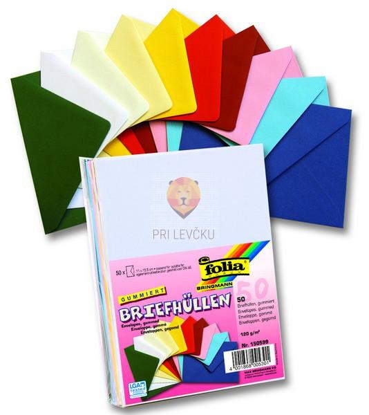 Set pravokotnih kuvert, barvni miks, 50 kos