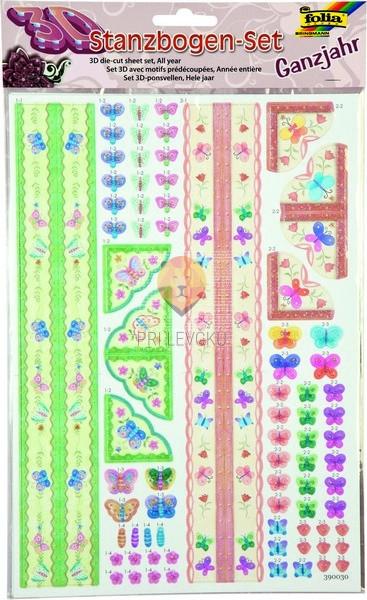 Set za izdelavo papirnih 3D dekoracij Celoletni motivi