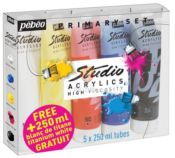 Primarni set akrilnih barv STUDIO ACRYLICS, 5 x 250 ml