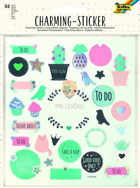 Nalepke Charming sticker Splošni motivi 55 kosov