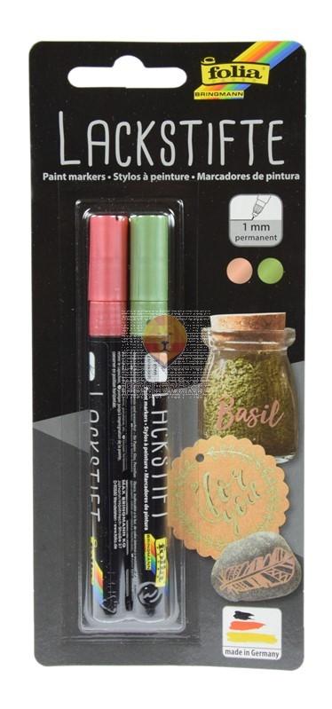 Set metalnih flomastrov zelena in rožnato zlato debeline 1 mm 2 kosa