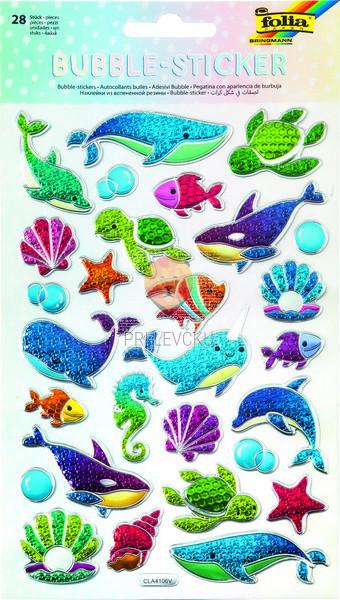 Mehurčkaste nalepke Morski svet 28 kosov
