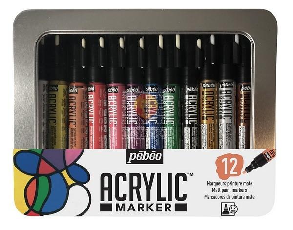 Set 12 akrilnih flomastrov v kovinski škatli, debelina konice 1,2mm