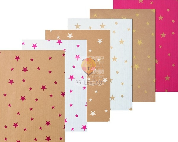 Zavijalni papir Kraft papir Zvezdice 1mx5m