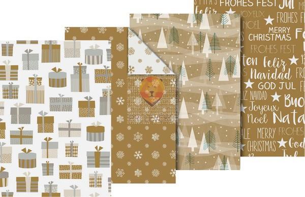 """Zavijalni papir """"Wintergold,"""" 80 g/m2, 70 x 200 cm"""