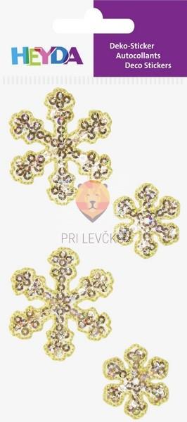 Tekstilne nalepke snežinke zlate 4 kosi