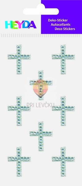 Dekorativne nalepke iz kamenčkov Križi srebrni