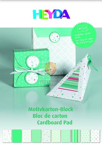 Blok kartona z motivi mint zelene barve 20 listov