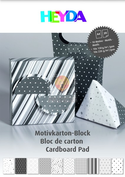 Blok kartona z motivi antracit barve 20 listov