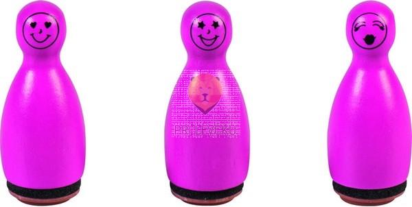 Lesene štampiljke figurice Smeški pink 3 kosi