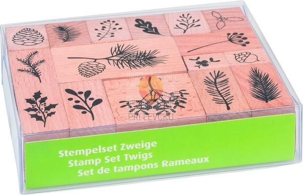 Štampiljke lesene Vejice 16 kosov