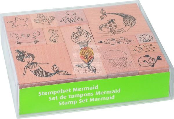 Štampiljke lesene Morska deklica 10 kosov