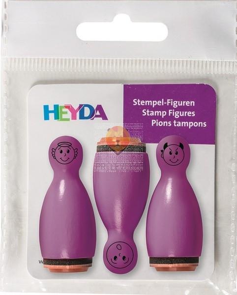 Lesene štampiljke figurice Smeški vijolični 3 kosi