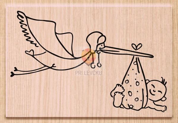 Lesena štampiljka Štorklja in dojenček 1 kos