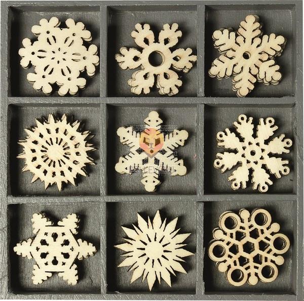 Leseni okraski v škatlici - Snežinke 1, 3 x 3 cm, 45 kos