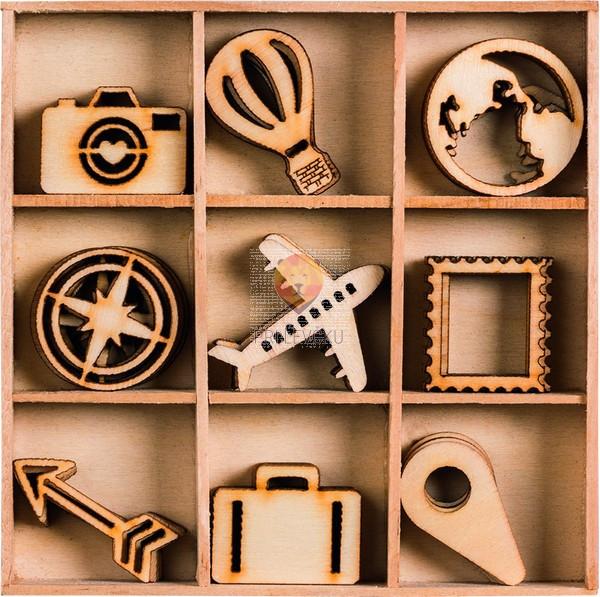 Leseni okraski v škatlici Potovanje 45 kosov