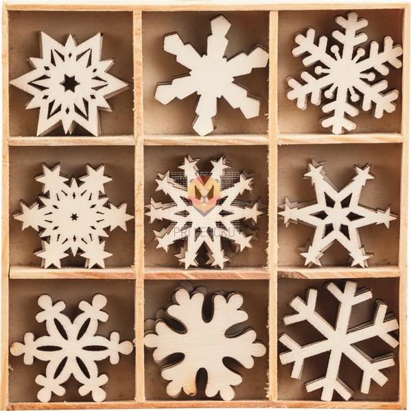 Leseni okraski v škatlici - Snežinke 2, 3 x 3 cm, 45 kos