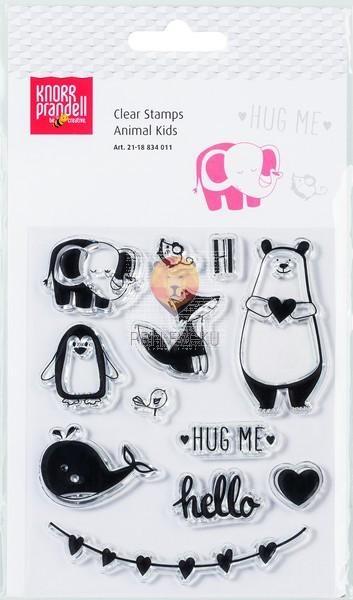 Set prozornih silikonskih štampiljk Animal kids 12 kosov