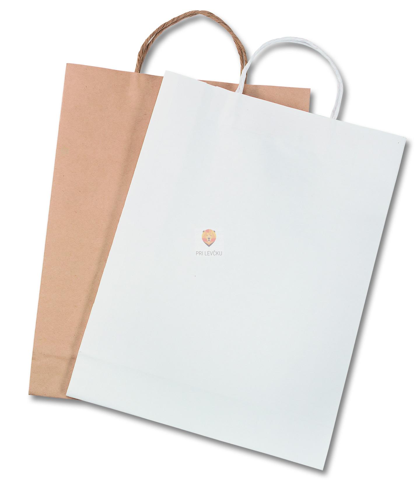 Papirnata darilna vrečka bela/naravna 31x11x42 cm - 1 kos