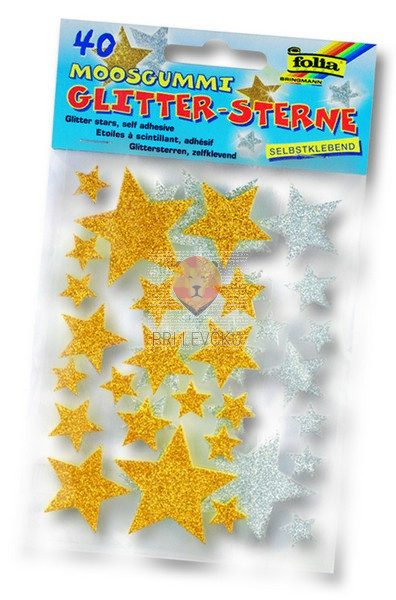 Moos gumi rezane oblike - samolepilne zvezdice z bleščicami