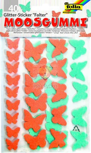 Moos gumi samolepilni metuljčki z bleščicami 40 kosov