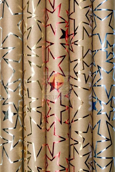 Zavijalni papir Kraft papir in bleščeče zvezdice 70 x 150 cm