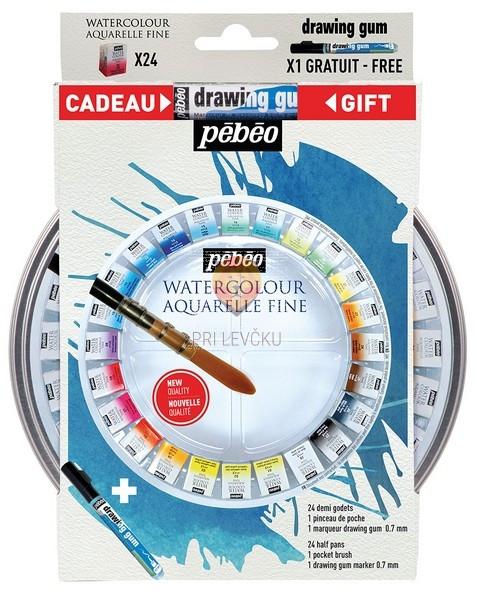Set Watercolour Aquarelle fine 24 tabletk, čopič in guma v flomastru