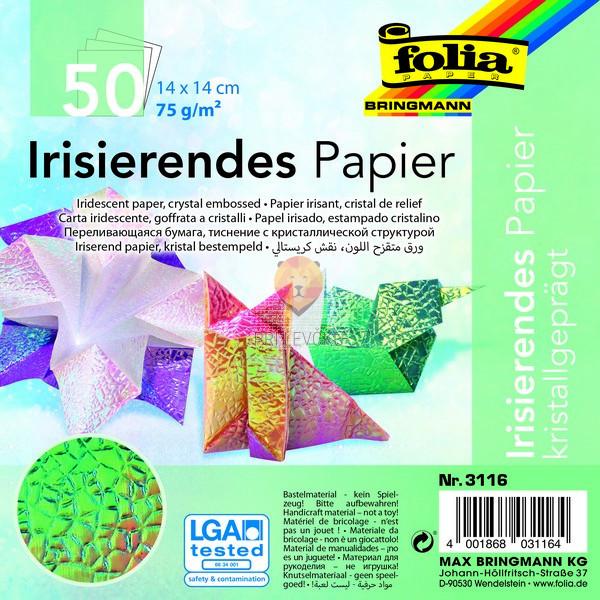 Origami papir svetleč kristalni vzorec 14x14 cm kristalni vzorec 50 listov