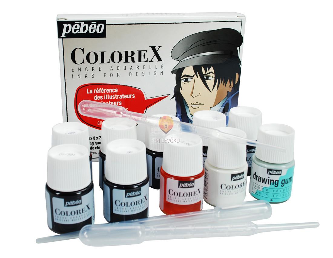 COLOREX  set akvarelnih transparentnih tušev, 8 x 20 ml + pripomočki