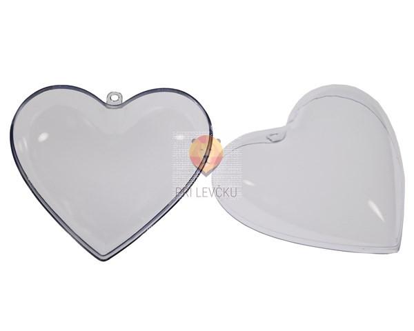 Srce prozorno dvodelno 10 cm 5 kos