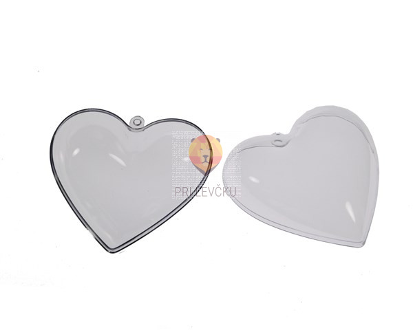 Srce prozorno dvodelno 7,8 cm 5 kos