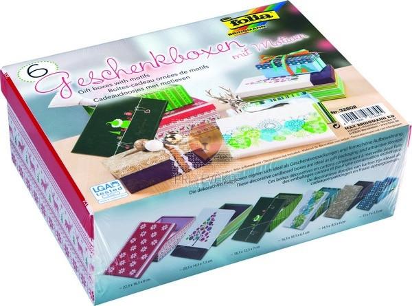 Kartonske darilne škatle z novoletnimi motivi 6 kosov