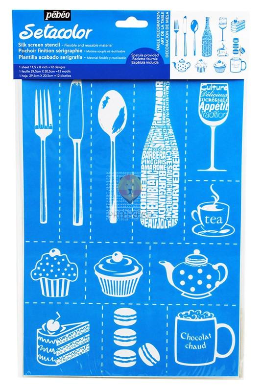 Setacolor šablona za tekstil - Kuhinjski motivi A4 format