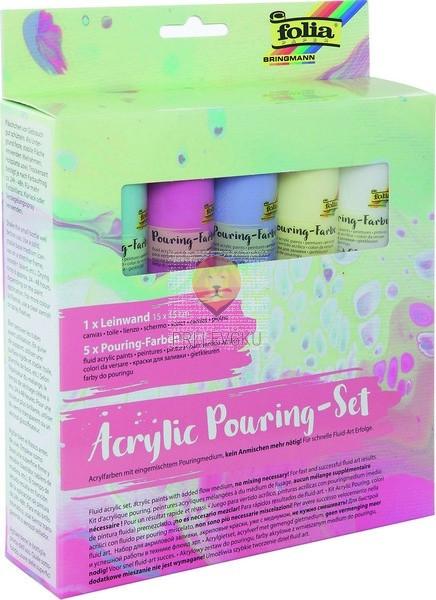 Acrylic pouring set Pastel 5x60ml + platno 15x15cm