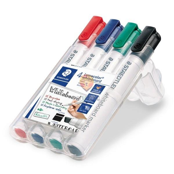 Set 4 whiteboard flomastrov piši briši s poševno konico Staedtler