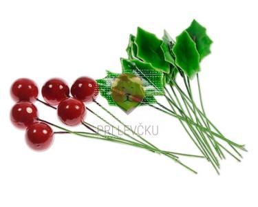 Dekorativni listi 12 kos in rdeče kroglice 6 kos