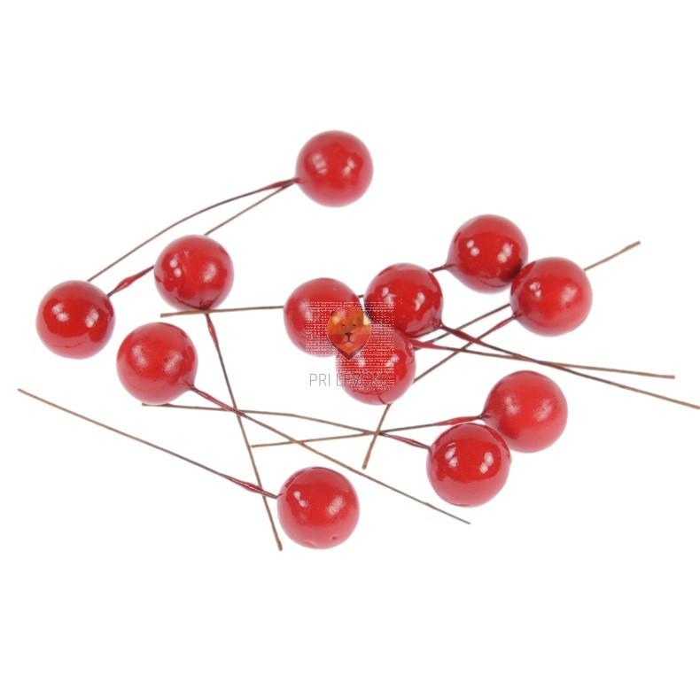 Dekorativne rdeče kroglice 15mm 12 kos