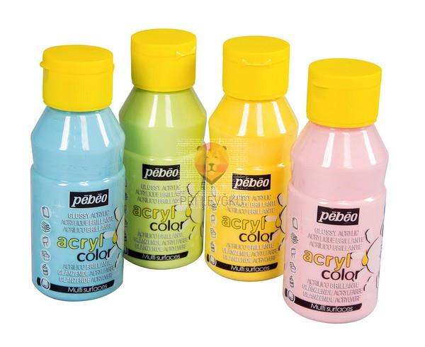 Set svetlečih akrilnih barv Acrylcolor pastelni odtenki, 4 x 150 ml